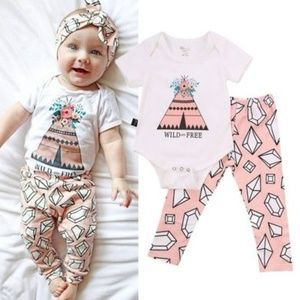 """Other - H.P. """"Wild and free"""" baby outfit 6,9,12 mo."""